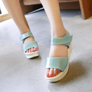 Fashion Wedges Sandals Pumps Platform High Heels Women Shoes with Velcro 3423