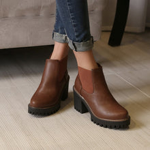 Load image into Gallery viewer, Round Toe High Heels Ankle Boots Platform Chunky Heels 8709