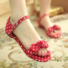 Load image into Gallery viewer, Polka Dot Flats Sandals Women Bowtie Ankle Straps Shoes Woman