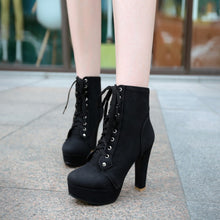 Load image into Gallery viewer, Lace Up Women Ankle Boots Platform High Heels Shoes Woman 2016 3392