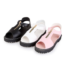 Load image into Gallery viewer, Women Sandals Zipper Peep Toes Low-heeled Shoes