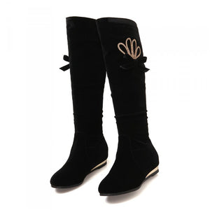Black Rhinestone Wedges Knee High Boots Shoes Woman 3280 3280