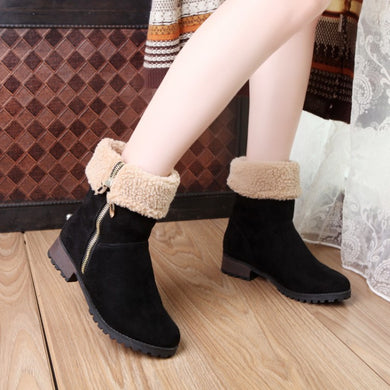 Zipper Lamb Wool Women Boots Low Square Chunky Heels Snow Boots 6341