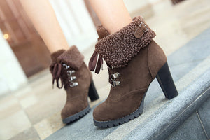 Lace Up Ankle Boots Artificial Suede Platform High Heels Shoes Woman 3325