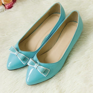 Pointed Toe Bowtie Women Flats Ballet Jelly Shoes