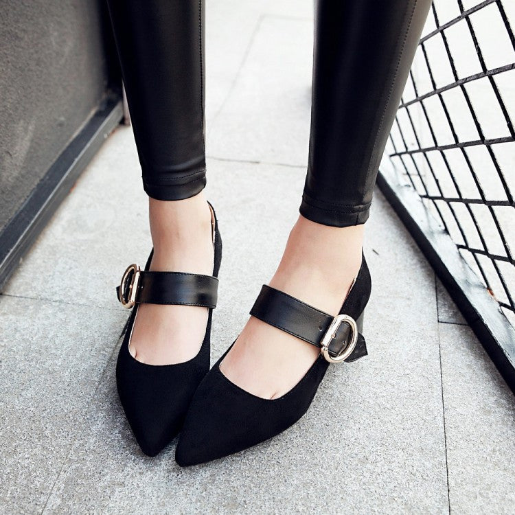 Pointed Toe Faux Suede Buckle Mary