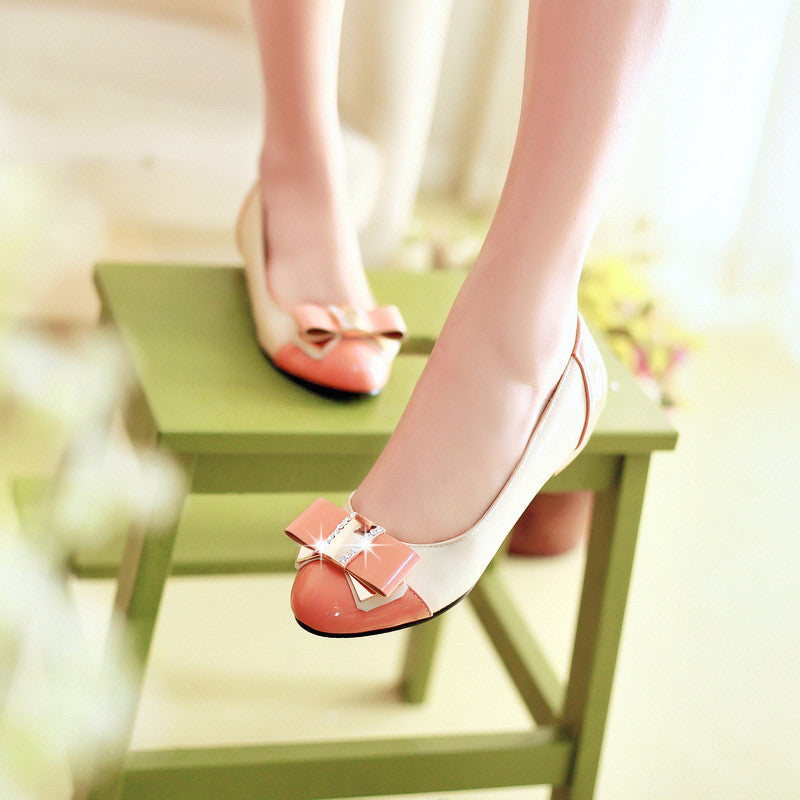 Bow Pumps Rhinestone Round Toe Patent Leather Shoes Woman