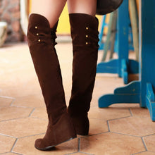 Load image into Gallery viewer, Studded Knee High Boots Wedge Heel Height Increasing 6992