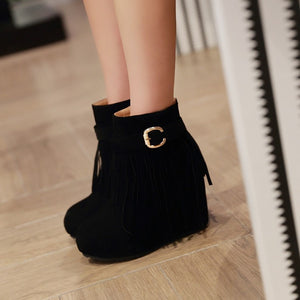 Women Tassel Wedges Ankle Boots Buckle Platform Shoes Woman 2016 3470