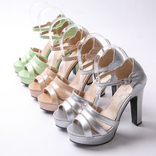 Load image into Gallery viewer, Platform Sandals Patent Leather Buckle Ankle Straps Women Pumps High Heels Shoes Woman 3445