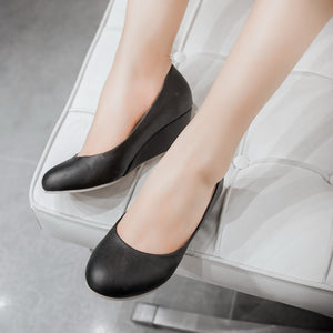 Women High Heels Round Toe Pu Leather Wedges Shoes