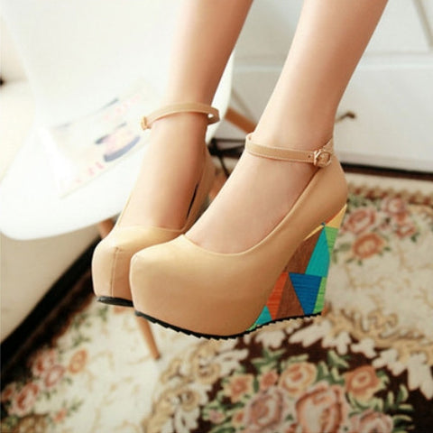Ankle Straps Women Wedges PU Leather Platform Shoes