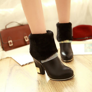 Black Rhinestone Women Ankle Boots Platform Zipper Fur High Heels Winter Shoes Woman 2016 3472