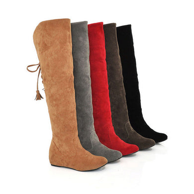 Velvet Snow Boots Wedges Heel Fur Inside Over the Knee Boots Women Shoes 6103