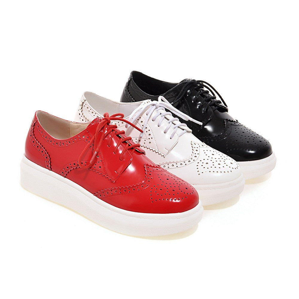 Women Lace Up Platform Shoes Wedges Cutout Loafers
