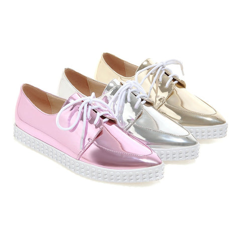 Women Flats Lace Up Casual Loafers Shoes