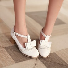 Load image into Gallery viewer, Bow Pumps T Straps High Heels Buckle Shoes Woman
