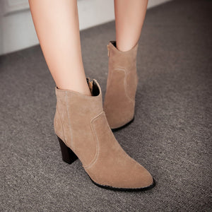 Women Ankle Boots Zipper Artificial Suede High Heels Shoes Woman 2016 3593