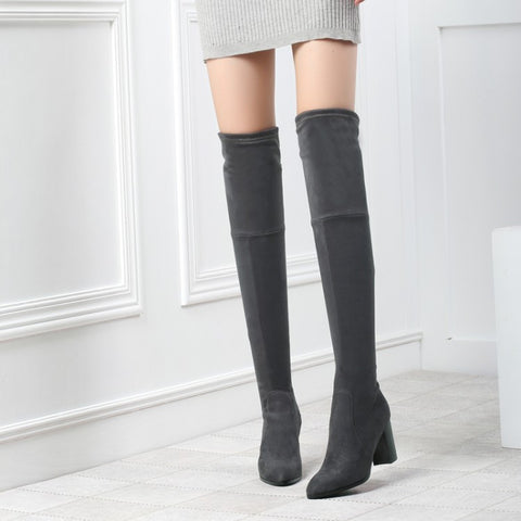 Slim Velvet High Heels Thigh High Boots Chunky Heel 9817