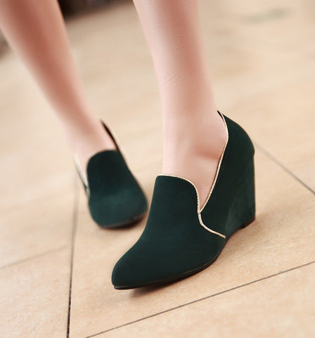 Artificial Suede Women Wedges Platform Shoes