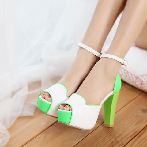 Peep Toes Platform Sandals Ankle Straps Women Pumps High Heels Shoes Woman