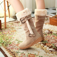 Load image into Gallery viewer, Knee High Boots with Buckle Fur Inside Winter Women Shoes
