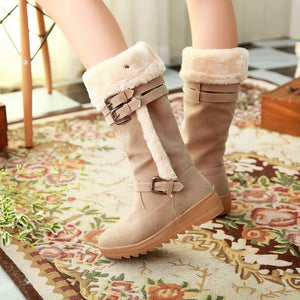 Knee High Boots with Buckle Fur Inside Winter Women Shoes