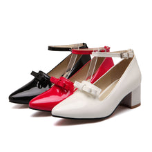 Load image into Gallery viewer, Ankle Straps Chunky Heel Pumps with Bow Platform High Heels Women Shoes 2235