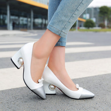 Pointed Toe Color Block Rhinestone Pearl Chunky Heel Pumps Mid Heel 1470