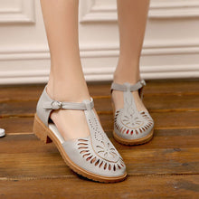 Load image into Gallery viewer, Toecap Sandals Pumps T Straps Cutout Women Shoes