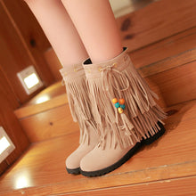 Load image into Gallery viewer, Fashion New 2016 Women Ankle Boots Shoes Wedges with Tassel 7372