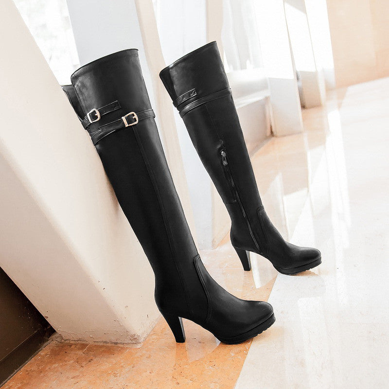 Black Women Thigh High Boots Zipper Buckle High Heels Platform Shoes Woman 2016 3490