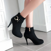 Load image into Gallery viewer, Studded Metal Zipper Women High Heels Platform Ankle Boots Stiletto Heel 9886