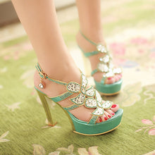 Load image into Gallery viewer, Rhinestone Platform Gladiator Sandals Women Pumps High Heels Shoes Woman 3436