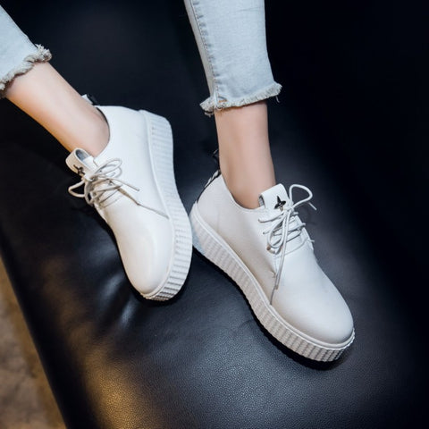 Casual Round Toe Lace Up Women Sneakers Platform Shoes 5623