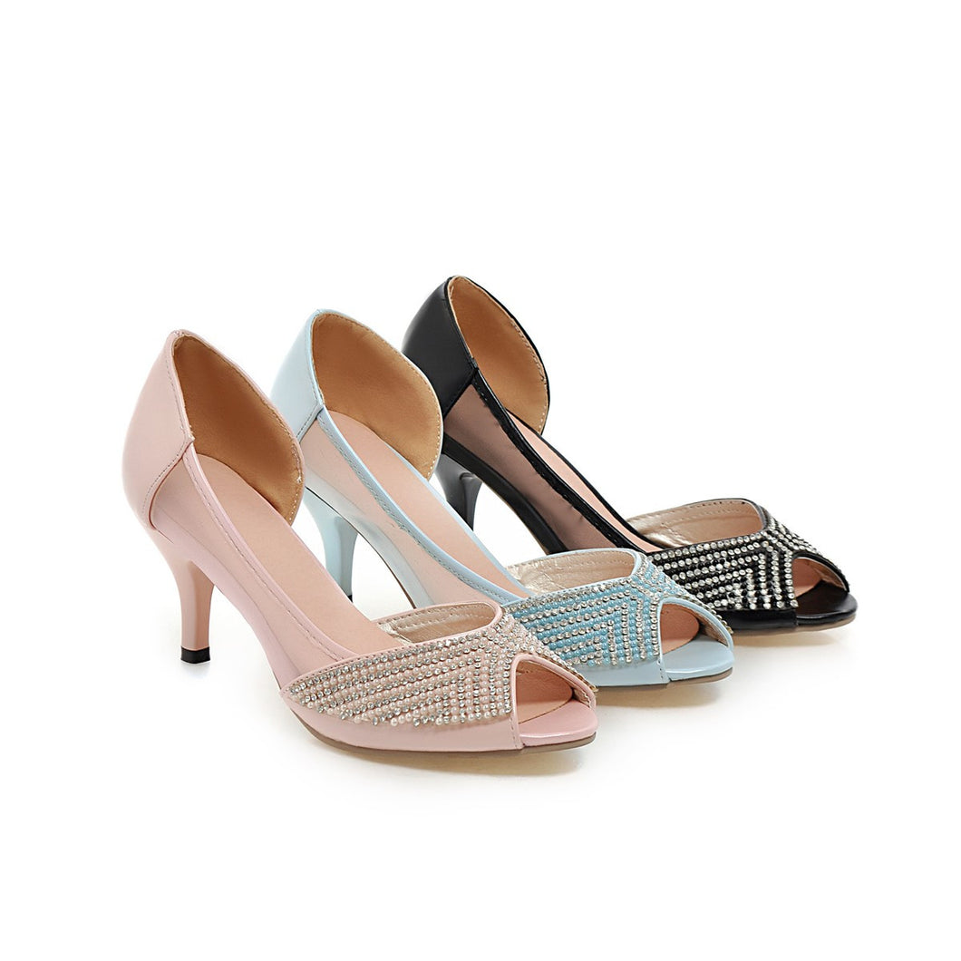Fashion Rhinestone Sandals Pumps High Heels Women Dress Shoes 3072