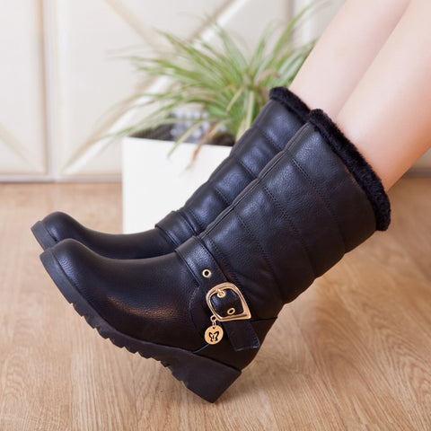 Buckle Snow Boots Fur Inside Winter Wedges Shoes Woman 3307 3307