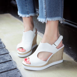 Women Buckle Wedges Sandals Platform High-heeled Shoes