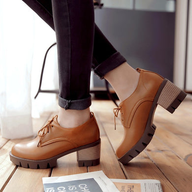 Round Toe Lace Up Chunky Heel Pumps Women Shoes 1915