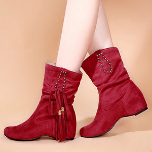 Tassel Women Boots Artificial Suede Wedges Shoes Woman 3365