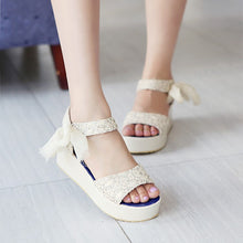Load image into Gallery viewer, Lace Platform Sandals Women Pumps Wedges Shoes Woman 3446