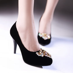 Rhinestone Women Pumps High Heels Spike Wedding Shoes Woman