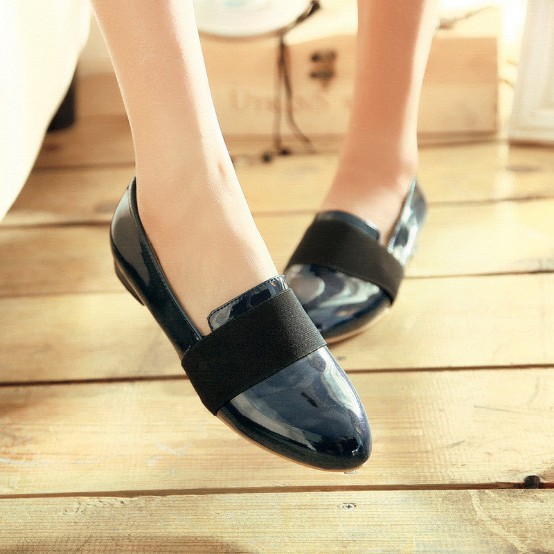 Women Shoes Patent Leather Low Heeled Loafers 1074