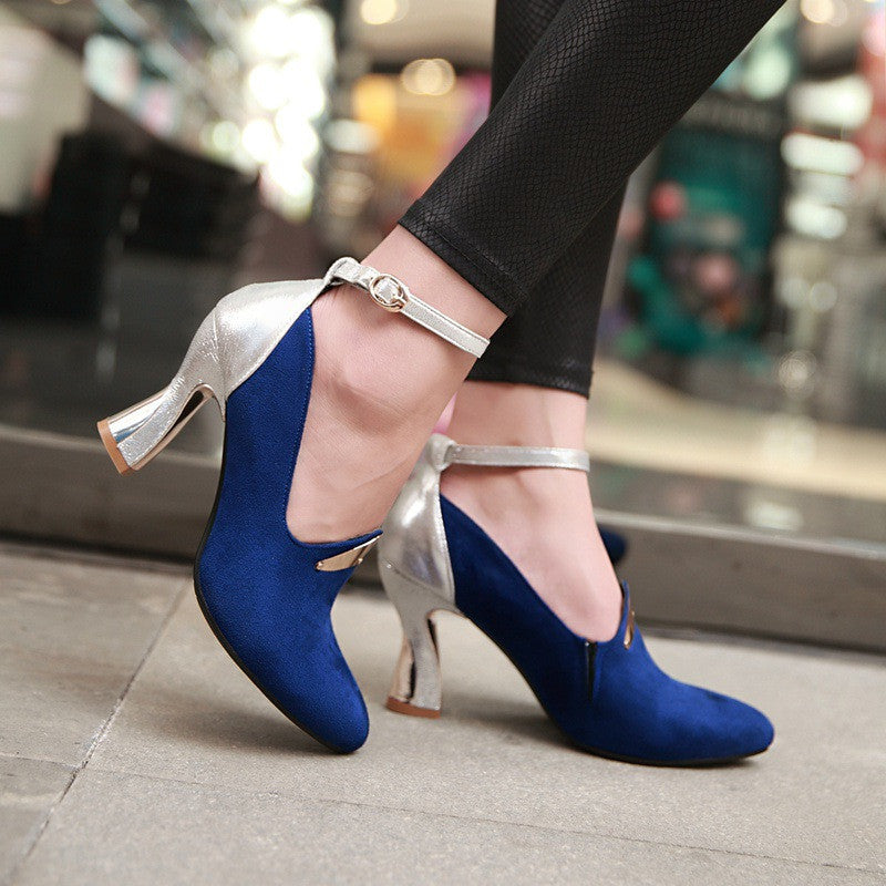 Ankle Straps Women Pumps High Heels Sequined Shoes Woman