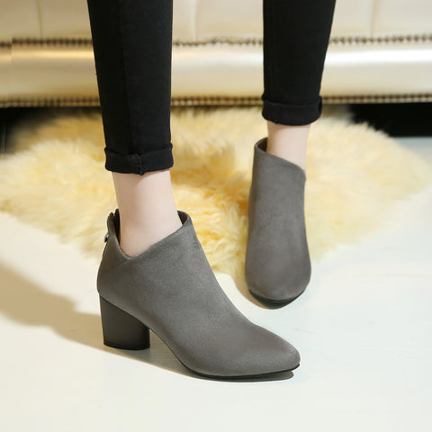 Black and Gray Ankle Boots Women Shoes New Arrival