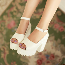 Load image into Gallery viewer, Pu Leather Platform Sandals Ankle Straps Chunky Heel Women Pumps High Heels Shoes Woman 3454