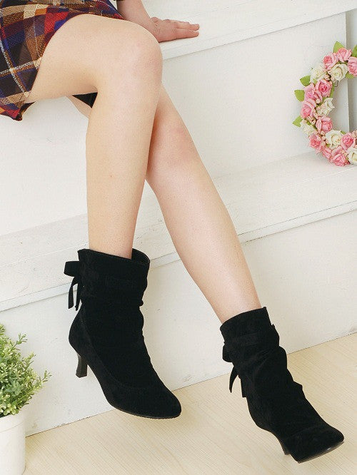 Bow High Heels Ankle Boots Spike Heel 3080