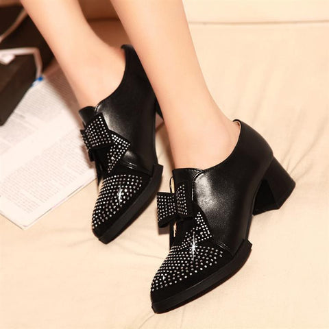 Bowtie Women Pumps Platform PU Leather Rhinestone Shoes Woman