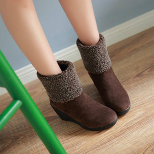 Women Wedges Ankle Boots Lamb Wool Platform Shoes Woman 2016 3478