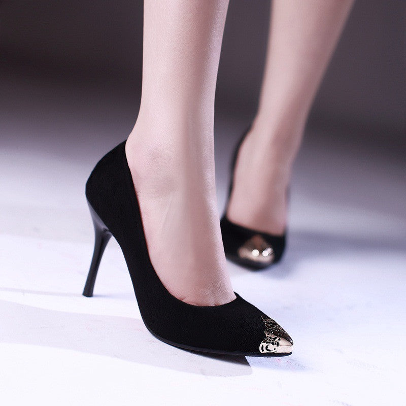 Pointed Toe Pumps High Heels Metal Spike Shoes Woman